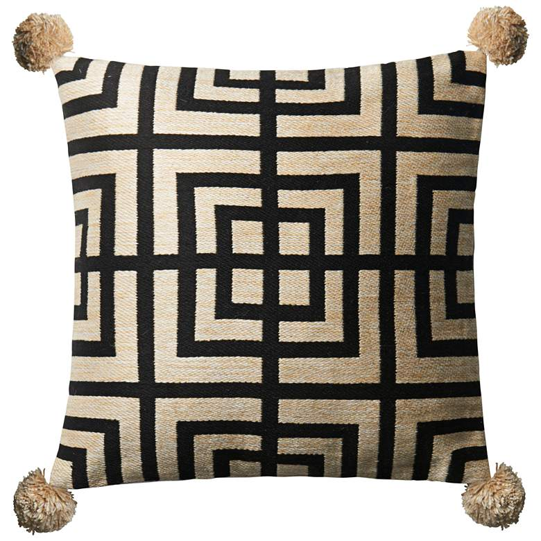 "Loloi Beige and Black 18"" Square Throw Pillow"