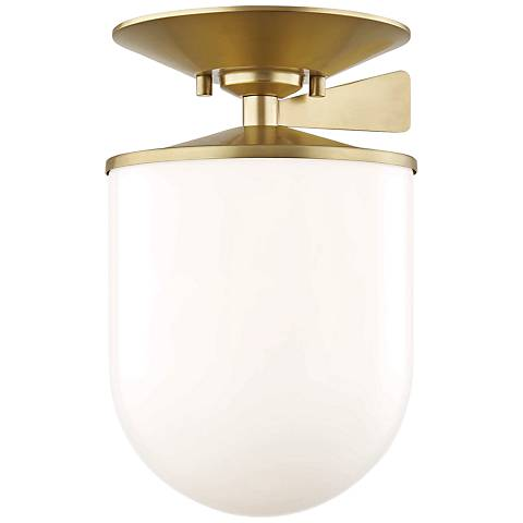 """Mitzi Audrey 7 1/2"""" Wide Aged Brass Ceiling Light"""