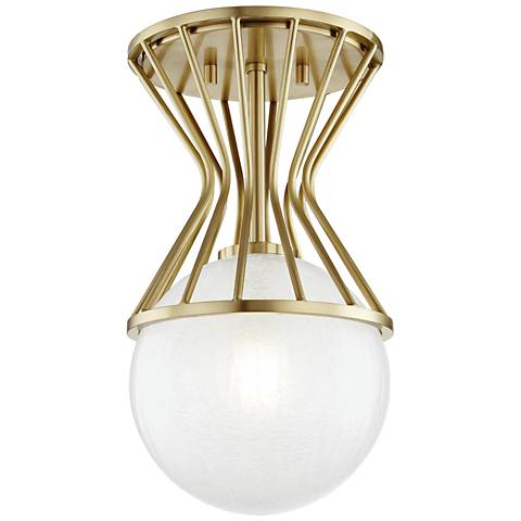 """Mitzi Petra 7 3/4"""" Wide Aged Brass Ceiling Light"""