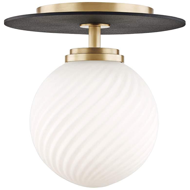 "Mitzi Ellis 7"" Wide Aged Brass LED Ceiling Light"