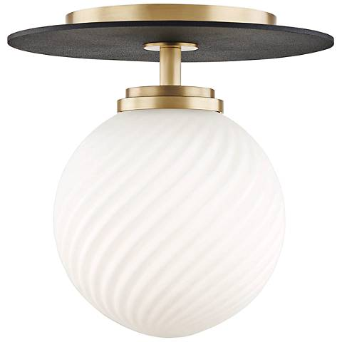 "Mitzi Ellis 7"" Wide Aged Brass LED Ceiling Light"