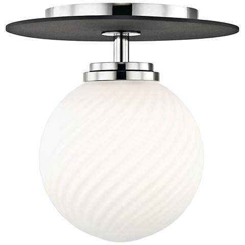 "Mitzi Ellis 7"" Wide Polished Nickel LED Ceiling Light"