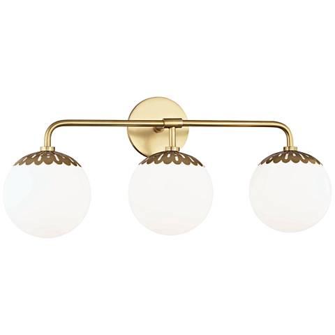 "Mitzi Paige 24"" Wide Aged Brass 3-Light Bath Light"