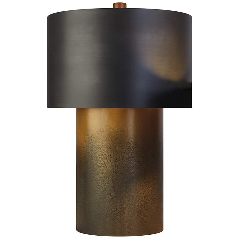 Tortoise Large Ombre Brass and Antique Zinc Table Lamp