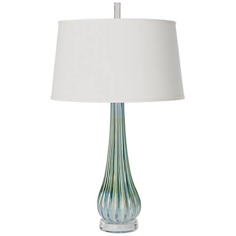 Irys Blue Ribbed Glass Table Lamp