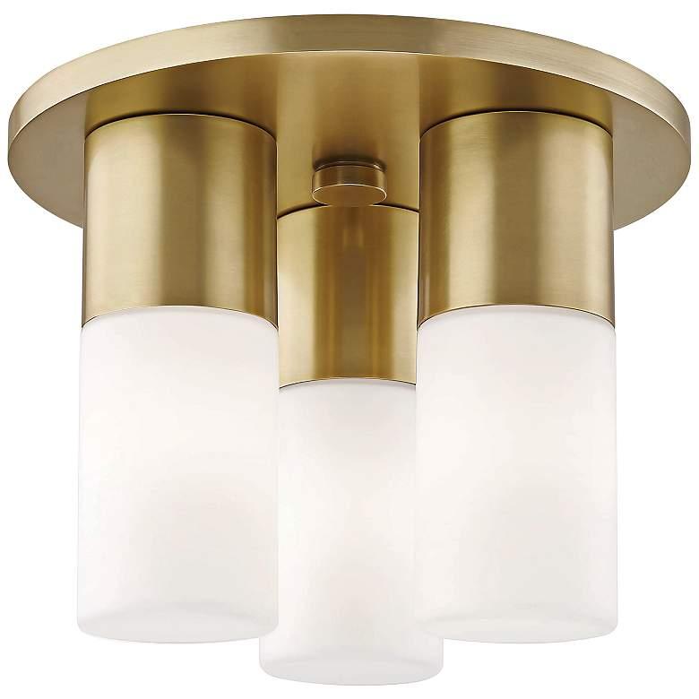 "Mitzi Lola 9 1/4"" Wide Aged Brass 3-Light LED Ceiling Light"