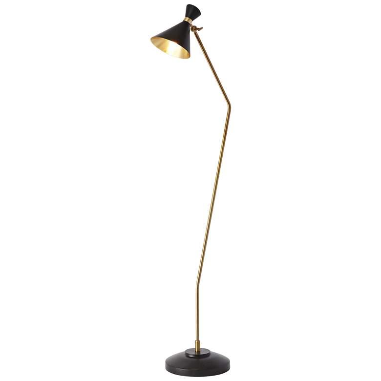 Cone Bronze and Brass Floor Lamp
