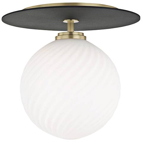 "Mitzi Ellis 10 1/4"" Wide Aged Brass LED Ceiling Light"
