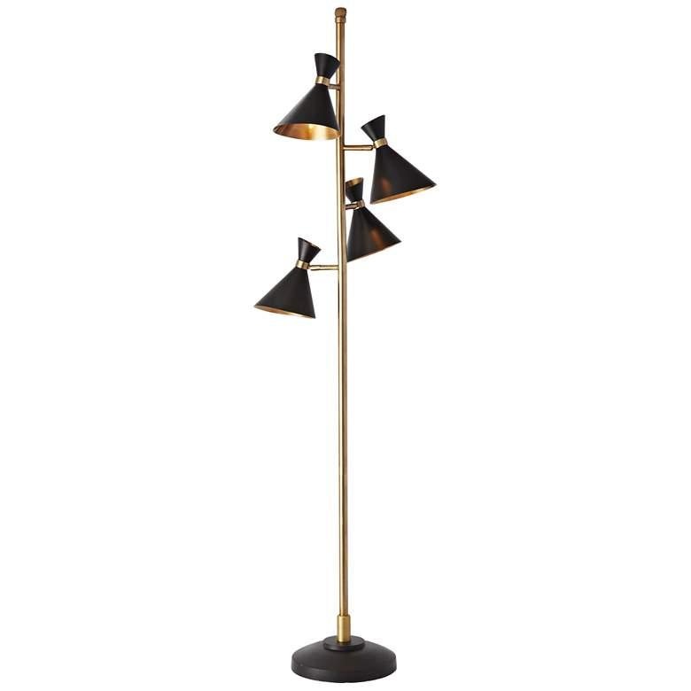 Cone Bronze and Brass 4-Light Floor Lamp