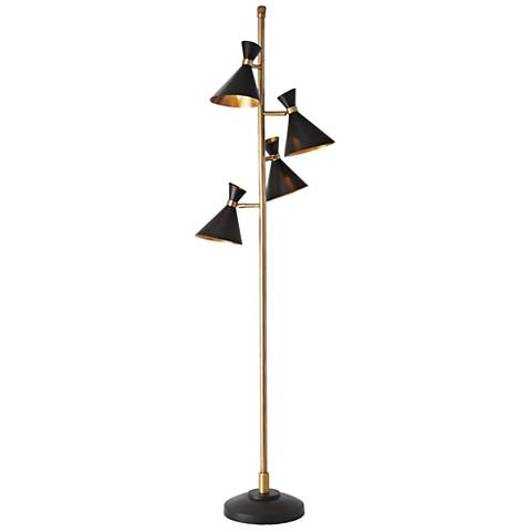 Cone Bronze and Brass 4-Light Floor Lamp