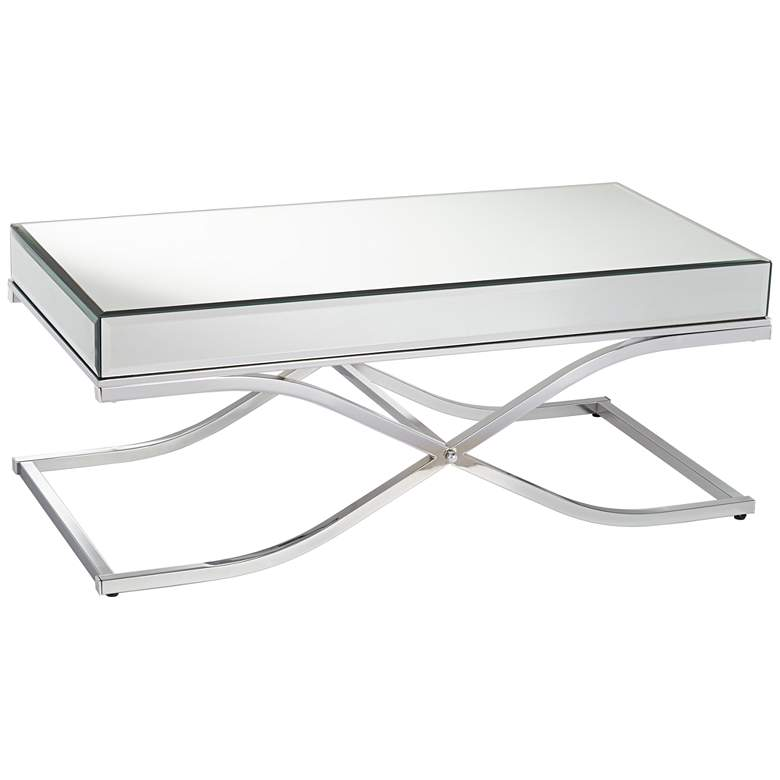 """Desiree 47 1/2"""" Wide Silver Mirror and Chrome Coffee Table"""