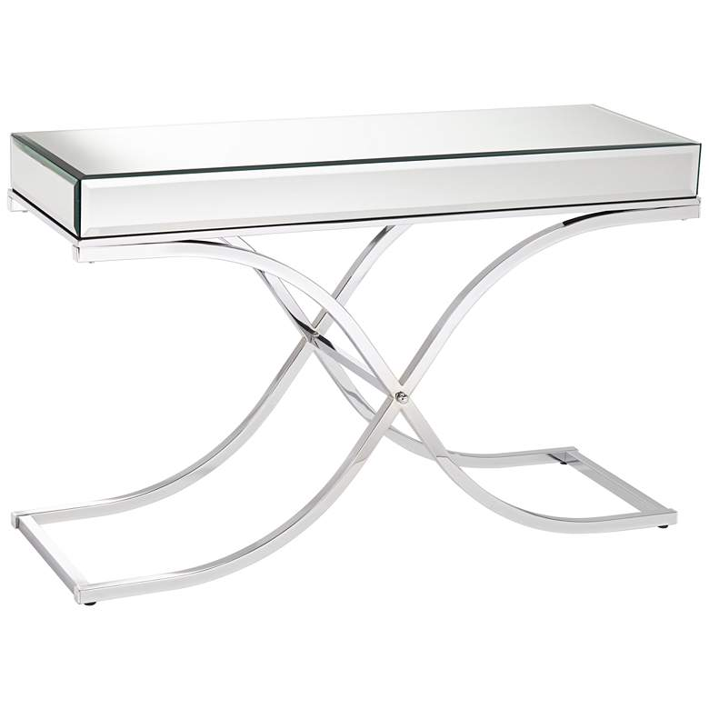 "Desiree 48"" Wide Silver Mirror Top and Chrome Console Table"