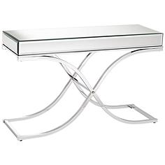 """Desiree 48"""" Wide Silver Mirror Top and Chrome Console Table"""