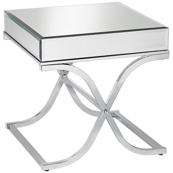 Desiree 23 1 2 Wide Silver Mirror Top, Silver Mirror End Table