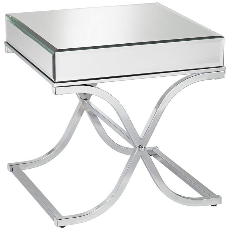 """Desiree 23 1/2"""" Wide Silver Mirror Top and Chrome End Table"""