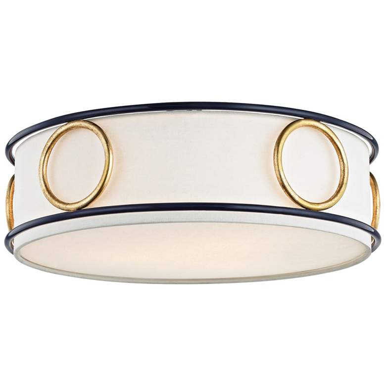 """Mitzi Jade 15 3/4"""" Wide Gold Leaf and Navy Ceiling Light"""