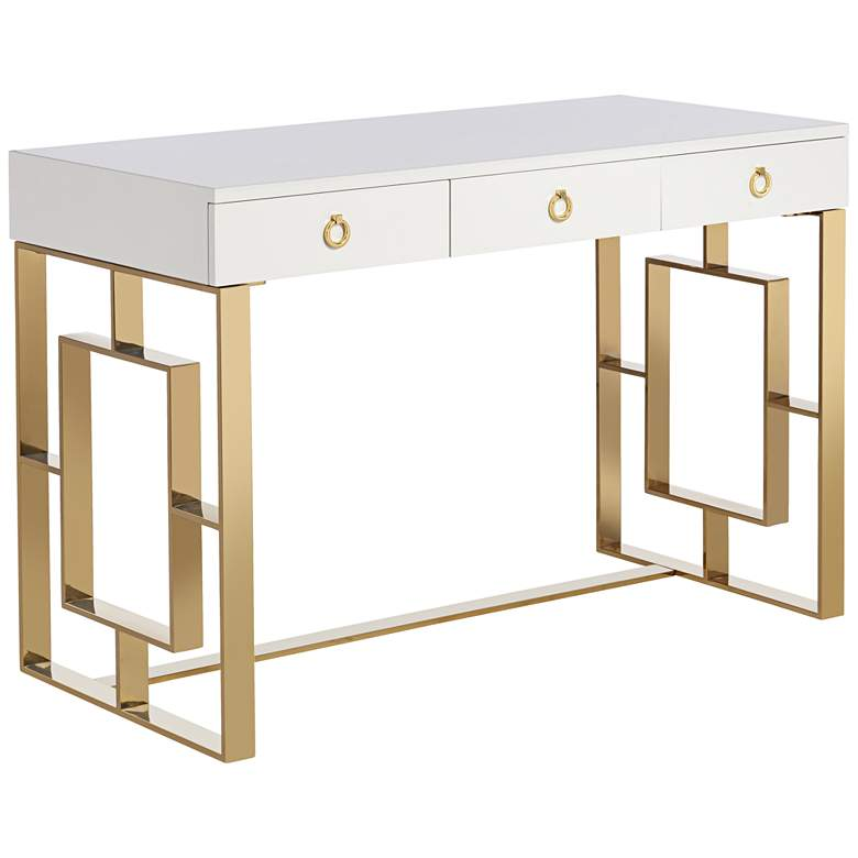 """Baccarat 47"""" Wide White Lacquer and Gold Writing Desk"""