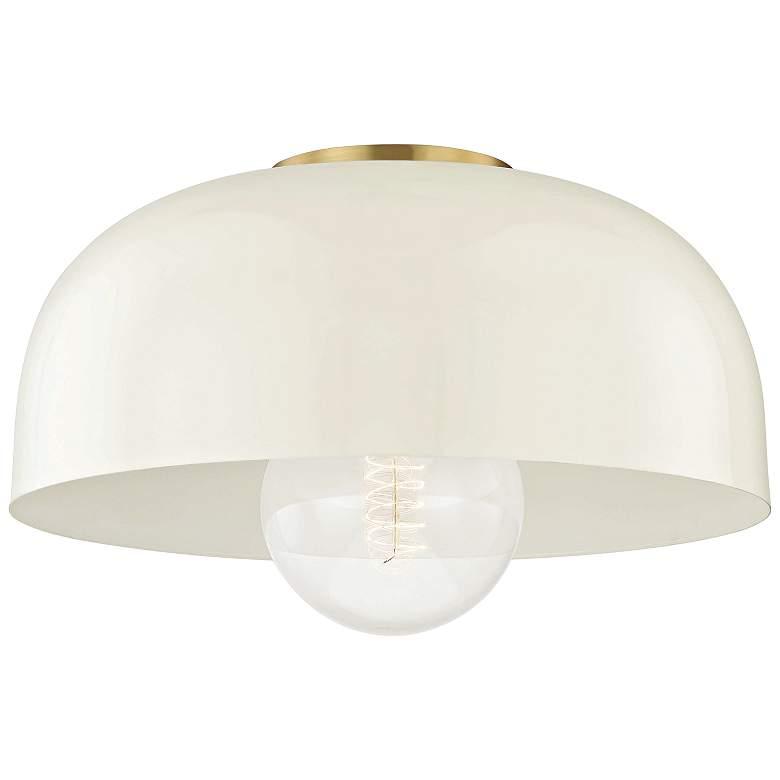 "Mitzi Avery 14"" Wide Aged Brass Ceiling Light w/ Cream Shade"