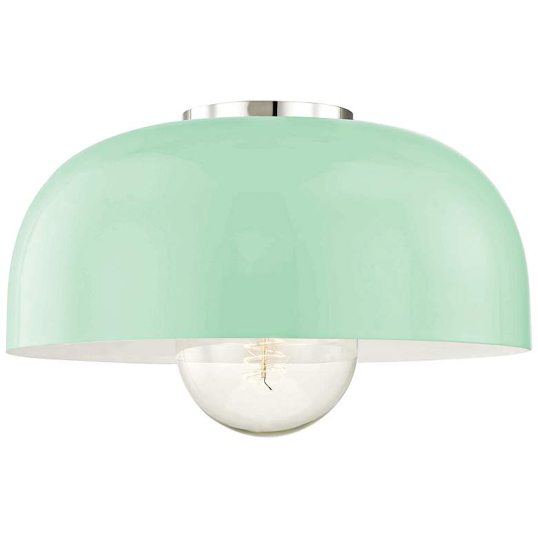 "Mitzi Avery 14""W Polished Nickel Ceiling Light w/ Mint Shade"