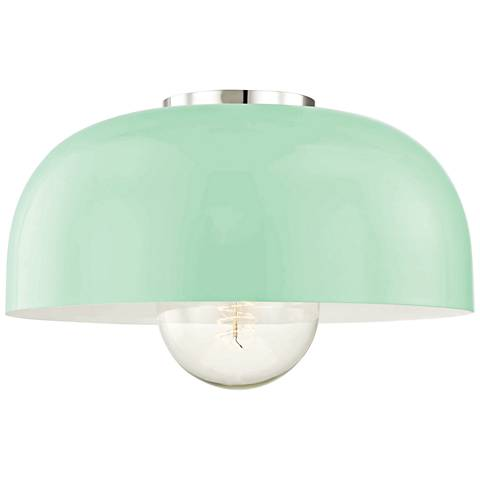 "Mitzi Avery 14""W Polished Nickel Ceiling Light w/ Mint Shade"