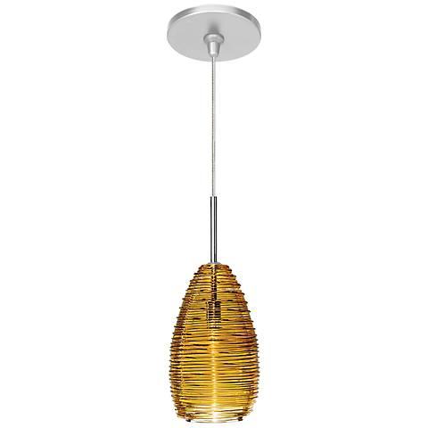 "LBL Vortex 4"" Wide Satin Nickel Amber Glass Mini Pendant"