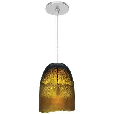 """LBL Chill FSJ 6 1/4"""" Wide Amber Ice Glass Mini Pendant"""