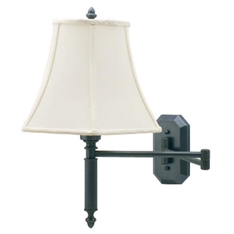 Bronze Octagon Backplate Swing Arm Plug-In Wall Lamp
