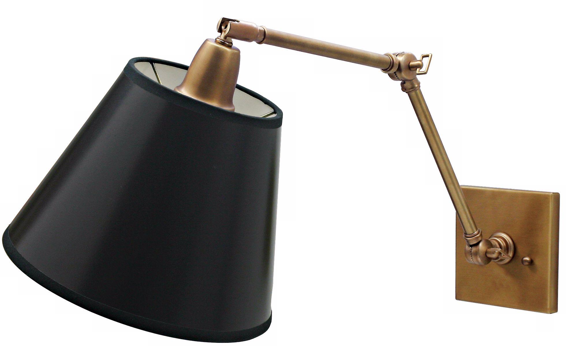 Weathered Brass Black Shade Hardwire Swing Arm Wall Lamp