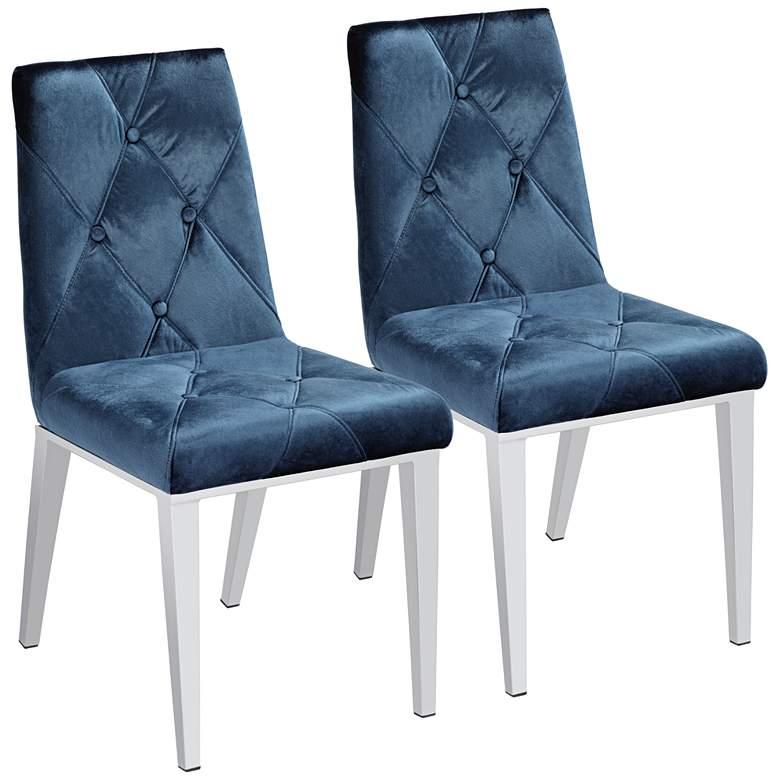 Allison Blue Velvet Dining Chairs Set of 2