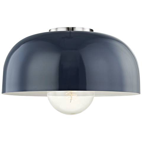 "Mitzi Avery 14""W Polished Nickel Ceiling Light w/ Navy Shade"
