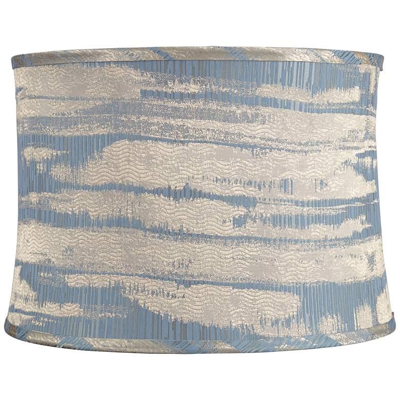 Blue w/ Silver Weave Print Drum Lamp Shade 15x16x11 (Spider)