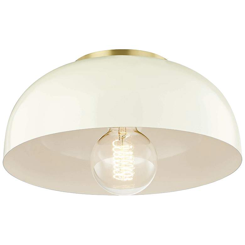 "Mitzi Avery 11"" Wide Aged Brass Ceiling Light w/ Cream Shade"