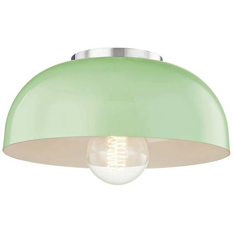 "Mitzi Avery 11""W Polished Nickel Ceiling Light w/ Mint Shade"