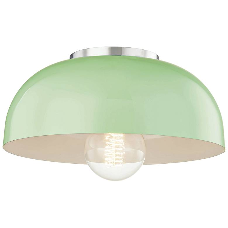 "Mitzi Avery 11""W Polished Nickel Ceiling Light w/ Mint Shade"