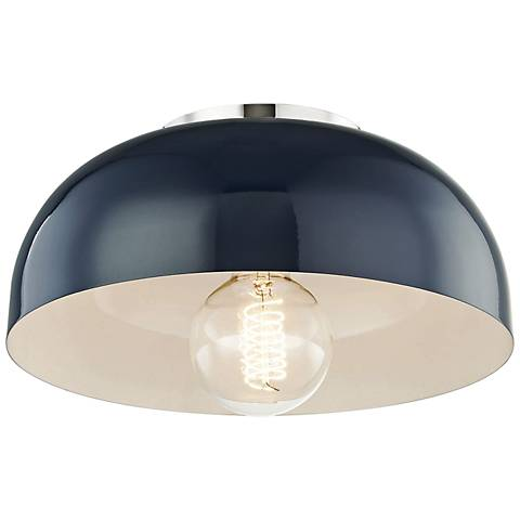 "Mitzi Avery 11""W Polished Nickel Ceiling Light w/ Navy Shade"
