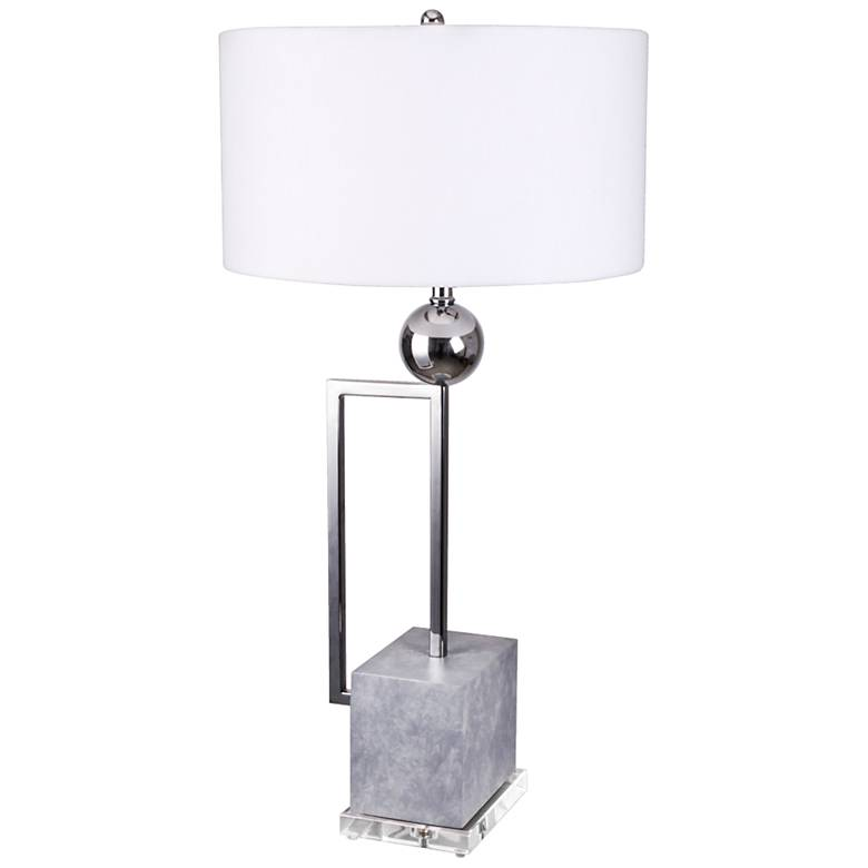 Van Teal Date Chrome and Cadet Gray Table Lamp