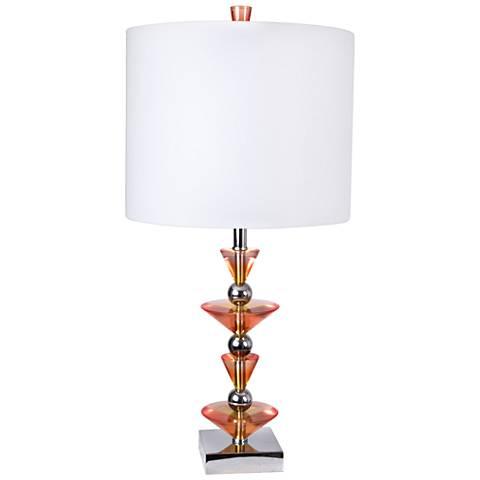 Van Teal Sax Chrome and Pink Splendor Acrylic Table Lamp