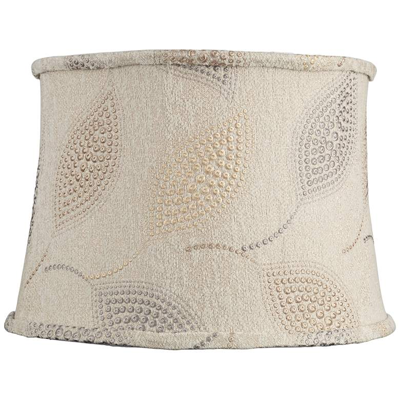 Colored Leaf Dot Embroidered Drum Shade 14x16x11 (Spider)