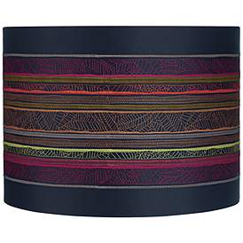 Boho Multi Color Striped Drum Lamp Shade 15x15x11 Spider