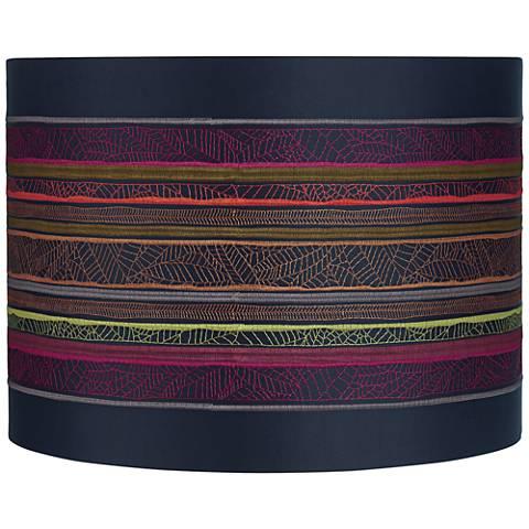 Boho Multi-Color Striped Drum Lamp Shade 15x15x11 (Spider)