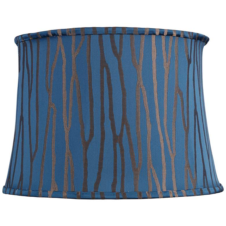 Royal Blue and Bronze Stripe Drum Shade 14x16x11 (Spider)