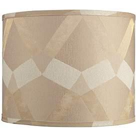 Tan Geometric Pattern Drum Lamp Shade 14x14x11 Spider