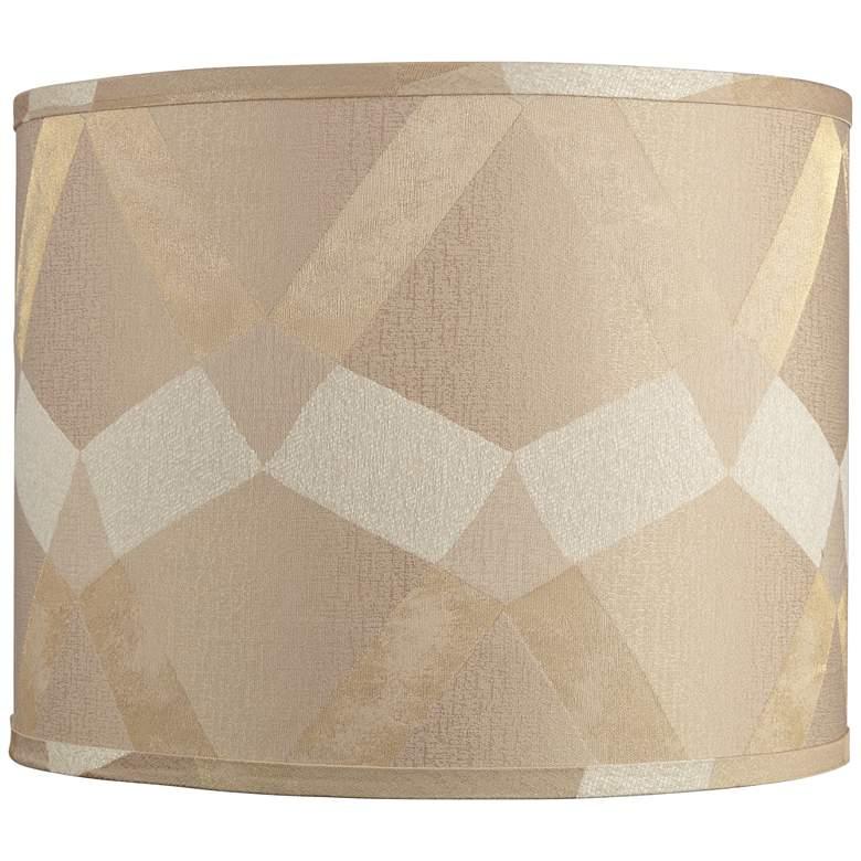 Tan Geometric Pattern Drum Lamp Shade 14x14x11 (Spider)