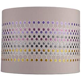 Multi Color Hexagon Embroider Drum Shade 14x14x11 Spider
