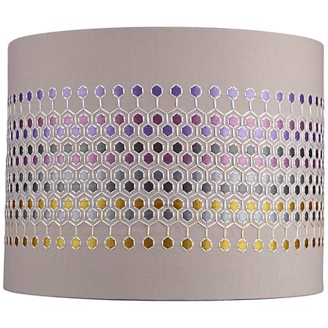 Multi-Color Hexagon Embroider Drum Shade 14x14x11 (Spider)