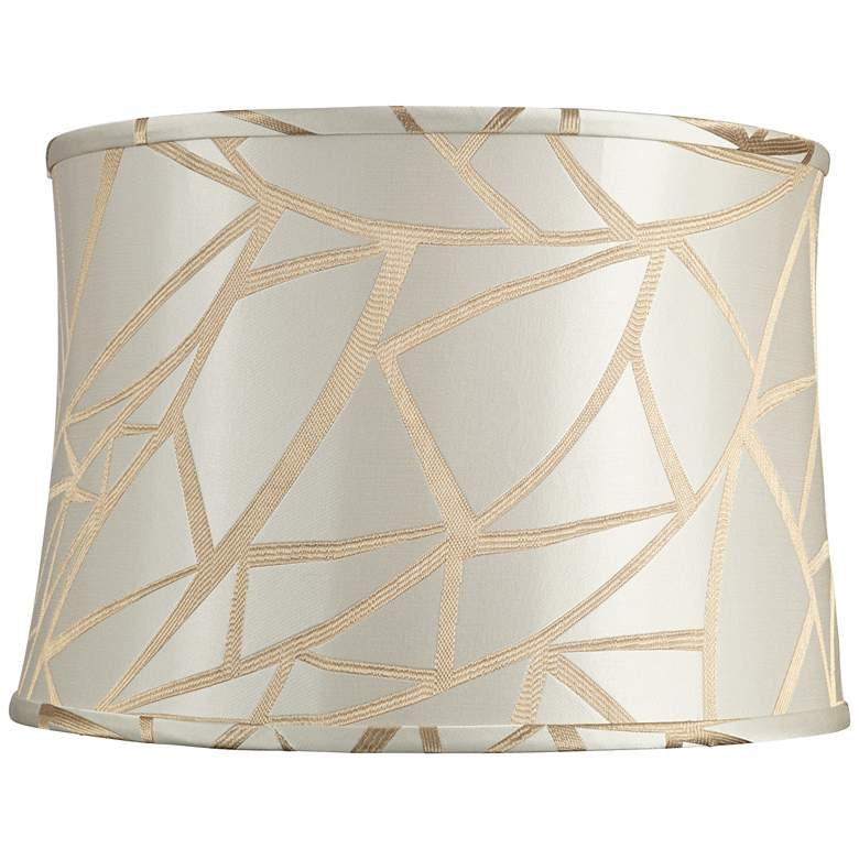 Cream w/ Thick Gold Cross Line Lamp Shade 15x16x11 (Spider)