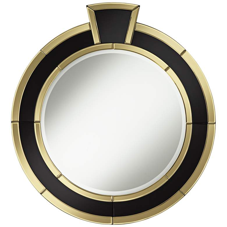 """Mae Gold and Black Ring 30"""" x 32 1/2"""" Round Wall Mirror"""