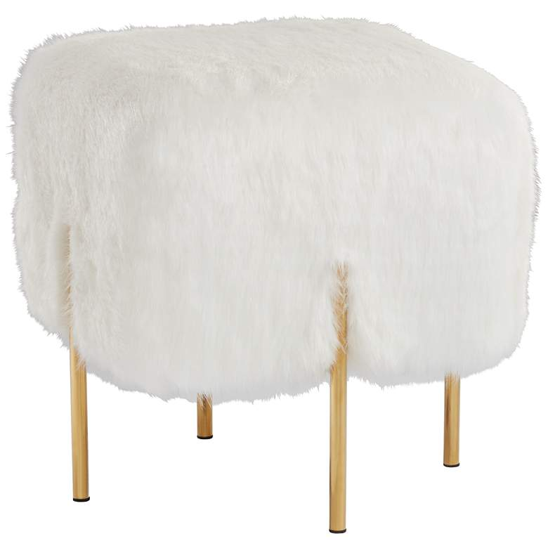 Enjoyable Kube Faux Fur White Square Ottoman With Gold Legs Machost Co Dining Chair Design Ideas Machostcouk