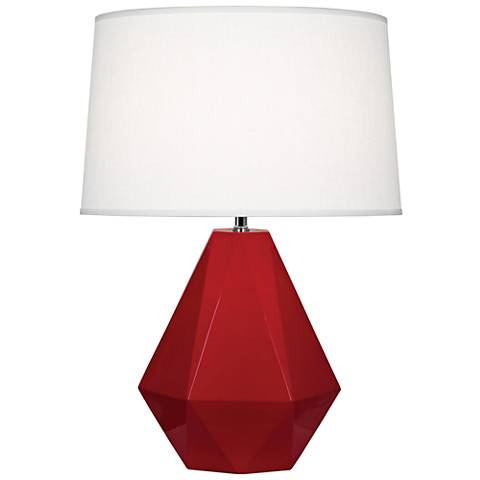 Robert Abbey Delta Ruby Red Glazed Ceramic Accent Table Lamp