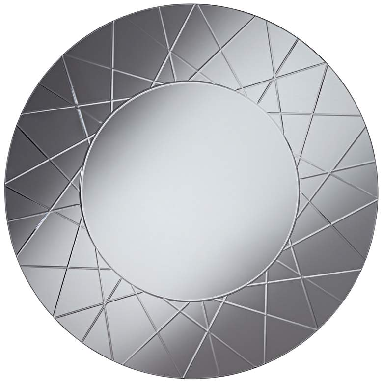 "Beatrix Etched Smoke Glass 33"" Round Wall Mirror"